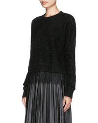 Sandro Supreme Floral Lace Hem Cropped Sweater - Lyst