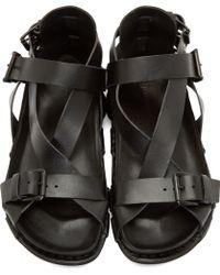 Ann Demeulemeester - Black Buckle Strap Sandals - Lyst