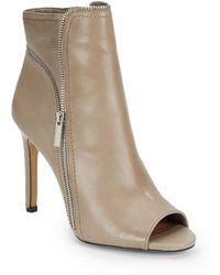 Vince Camuto Klayton Zipper-trimmed Leather Ankle Bootsgray - Lyst