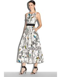 Milly Tropical Toile Serena Tea Length Dress multicolor - Lyst