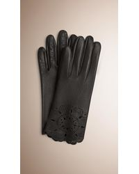 Burberry | Laser-cut Lace Leather Gloves | Lyst