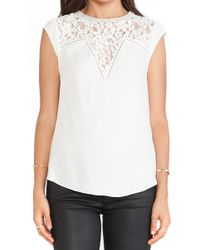 Rebecca Taylor Silk Lace Mix Top - Lyst