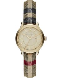 Burberry Ladies Gold-Tone Stainless Steel Jacquard Strap Watch - Lyst