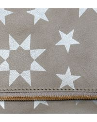 Clare Vivier Foldover Clutch In Gray Leather With Silver Moor Print - Lyst