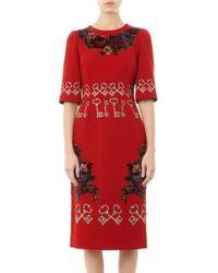 Dolce & Gabbana Flocked and Embroidered Crepe Dress - Lyst