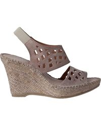 Andre Assous Denise Wedge Espadrille Taupe Suede - Lyst