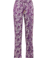 Paloma Blue - Venice Printed Silk Tapered Trousers - Lyst