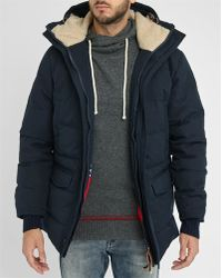 Homecore   Navy Damer Sherpa/feather Lining Cotton Parka   Lyst