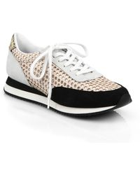 Loeffler Randall | Rio Laser-cut Leather & Suede Sneakers | Lyst