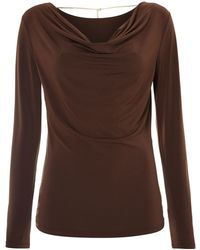 Michael Kors Cowl Neck Long Sleeved Top with Back Chain - Lyst