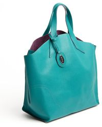 Furla Pavone Blue Leather Jucca Shopper Tote - Lyst