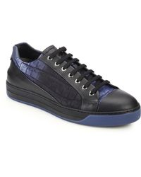 Fendi Croc-Embossed Canvas & Leather Lace-Up Sneakers - Lyst