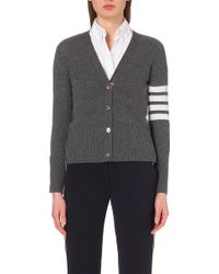 Thom Browne Striped Cashmere Cardigan - For Women - Lyst