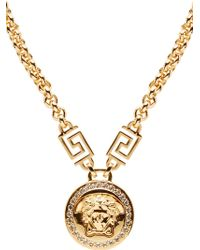 Versace Gold and Crystal Medusa Medallion Necklace - Lyst