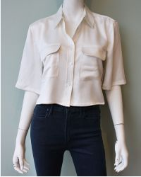 Equipment | Cropped Short Sleeve Signature Blouse | Lyst