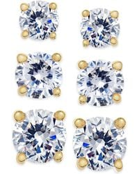 City By City - Gold-tone Clear Crystal Earring Trio - Lyst