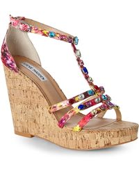 Steve Madden Multicolor Faara Wedge Sandals - Lyst