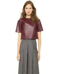 T By Alexander Wang Raw Edge Leather Crop Top - Lyst