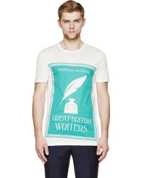 Burberry Prorsum Ivory And Green Inkwell T_Shirt - Lyst