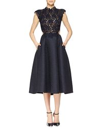 Monique Lhuillier Guipure Lace and Jacquard Fit-And-Flare Dress - Lyst