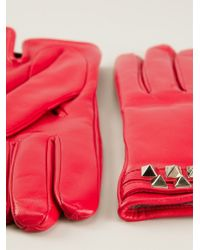 Valentino Red Rockstud Gloves - Lyst