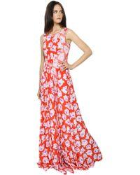 Nina Ricci Rose Printed Silk Crepe De Chine Dress - Lyst