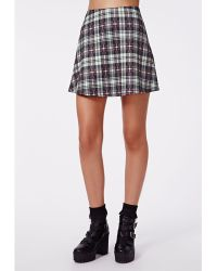 Missguided Grace Tartan Print A-line Skirt White - Lyst