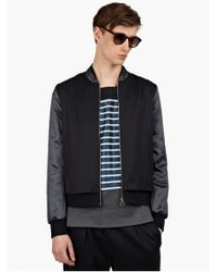 Paul Smith Mens Navy Lightweight Wool-twill Bomber Jacket - Lyst