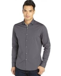 Stone Rose Charcoal Cotton Woven Button Front Shirt with Floral Trim - Lyst