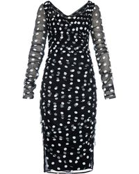 Dolce & Gabbana Polka-Dot Embroidered Tulle Dress - Lyst