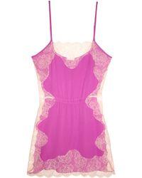 Fleur du Mal Rose Lace Applique Slip pink - Lyst