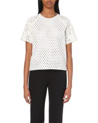MSGM Cut-Out Embroidery And Lace Top - For Women - Lyst
