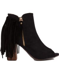 Akira Black Label | Open Toe Fringe Heeled Ankle Boots | Lyst