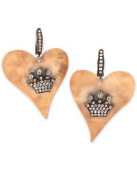 Irit Design Hammered Pink Gold Heart Earrings with Diamond Crowns - Lyst