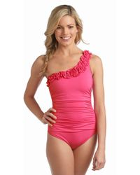 Kenneth Cole Reaction Haute Wave Oneshoulder Onepiece Swimsuit - Lyst