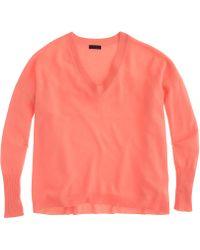 J.Crew Collection Cashmere Boyfriend V-neck Sweater red - Lyst