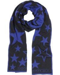 Jimmy Choo Black and Blue Stars Print Wool Blend Scarf - Lyst