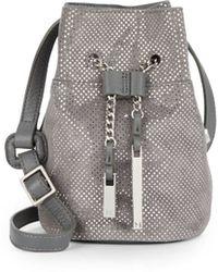 Halston Heritage | Metallic Dotted Suede Mini Bucket Bag | Lyst