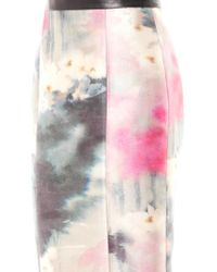 Honor Watercolour-print Silk Pencil Skirt - Lyst