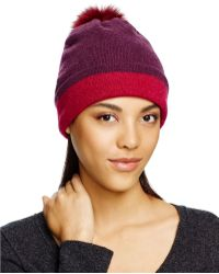 Bettina - Dual-tone Beanie With Fox Fur Pom-pom - Lyst