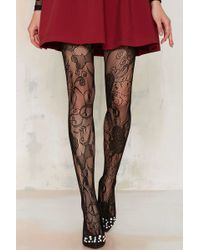 50c7db9c9 Nasty Gal · Look From London - Flutter Lace Tights - Lyst