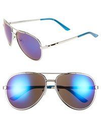 BCBGMAXAZRIA - 59mm Aviator Sunglasses - Metallic Blue - Lyst