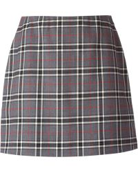 P.a.r.o.s.h. Gray Checked Skirt - Lyst