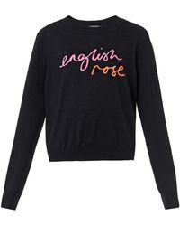 Markus Lupfer English Rose Intarsiaknit Sweater - Lyst