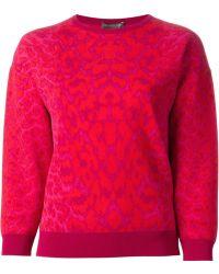 Alexander McQueen Leopard Instarsia Sweatshirt - Lyst
