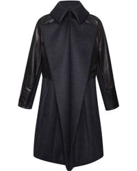 Nina Ricci Bonded Neoprene Wool and Leather Coat - Lyst