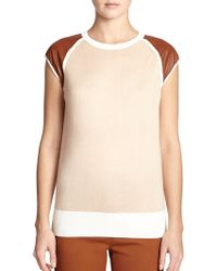 Reed Krakoff Leather-Sleeve Raglan Sweater - Lyst