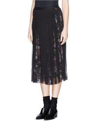 McQ by Alexander McQueen 'Festival Floral' Underlay Plissé Chiffon Skirt black - Lyst
