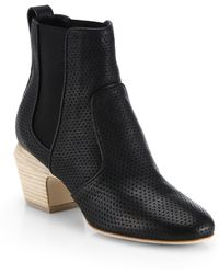 Fendi Perforated Leather Ankle Boots - Lyst