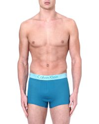 Calvin Klein Blue Two-toned Trunks - Lyst